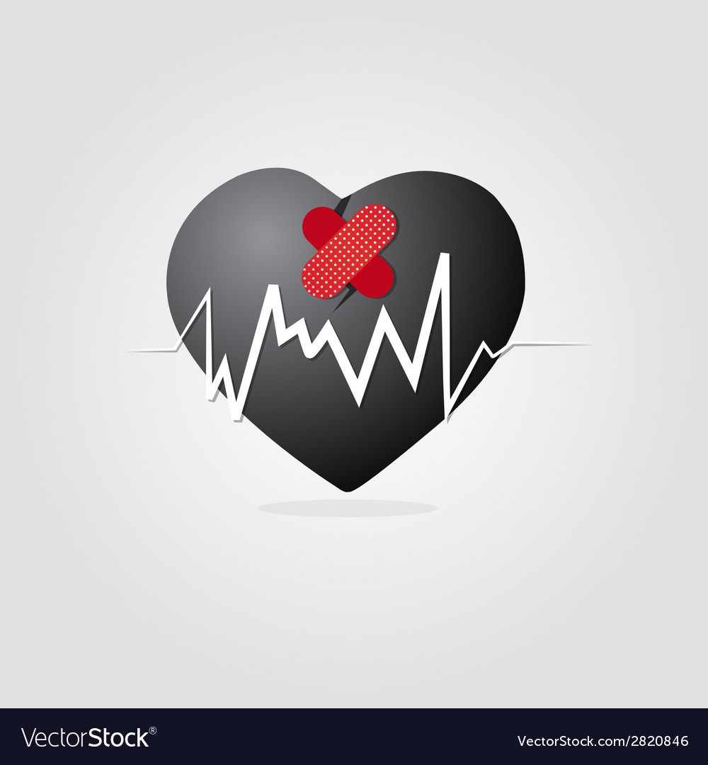 Black heart with plaster and graph vector | Price: 1 Credit (USD $1)