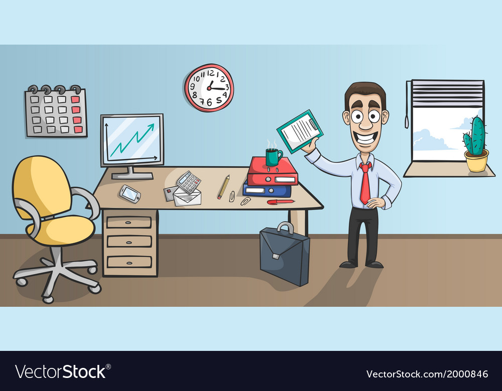 Business man character in office interior vector | Price: 1 Credit (USD $1)