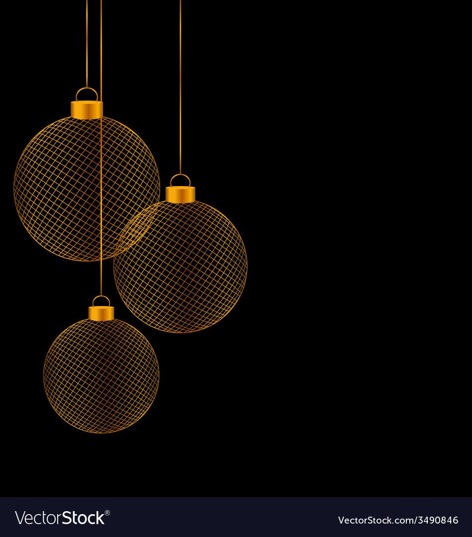 Christmas balls isolated on black vector | Price: 1 Credit (USD $1)