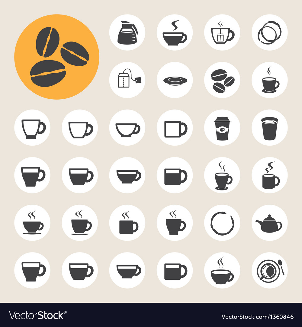 Coffee cup and tea cup icon set vector | Price: 1 Credit (USD $1)