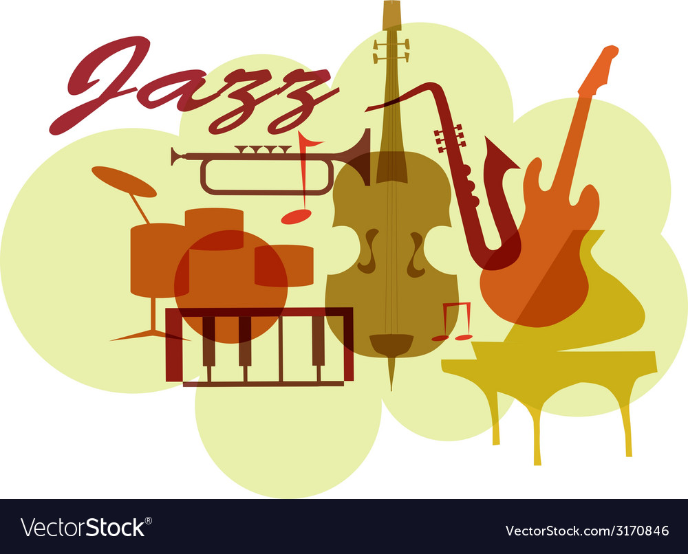 Colorful jazz instruments set isolated on white vector | Price: 1 Credit (USD $1)