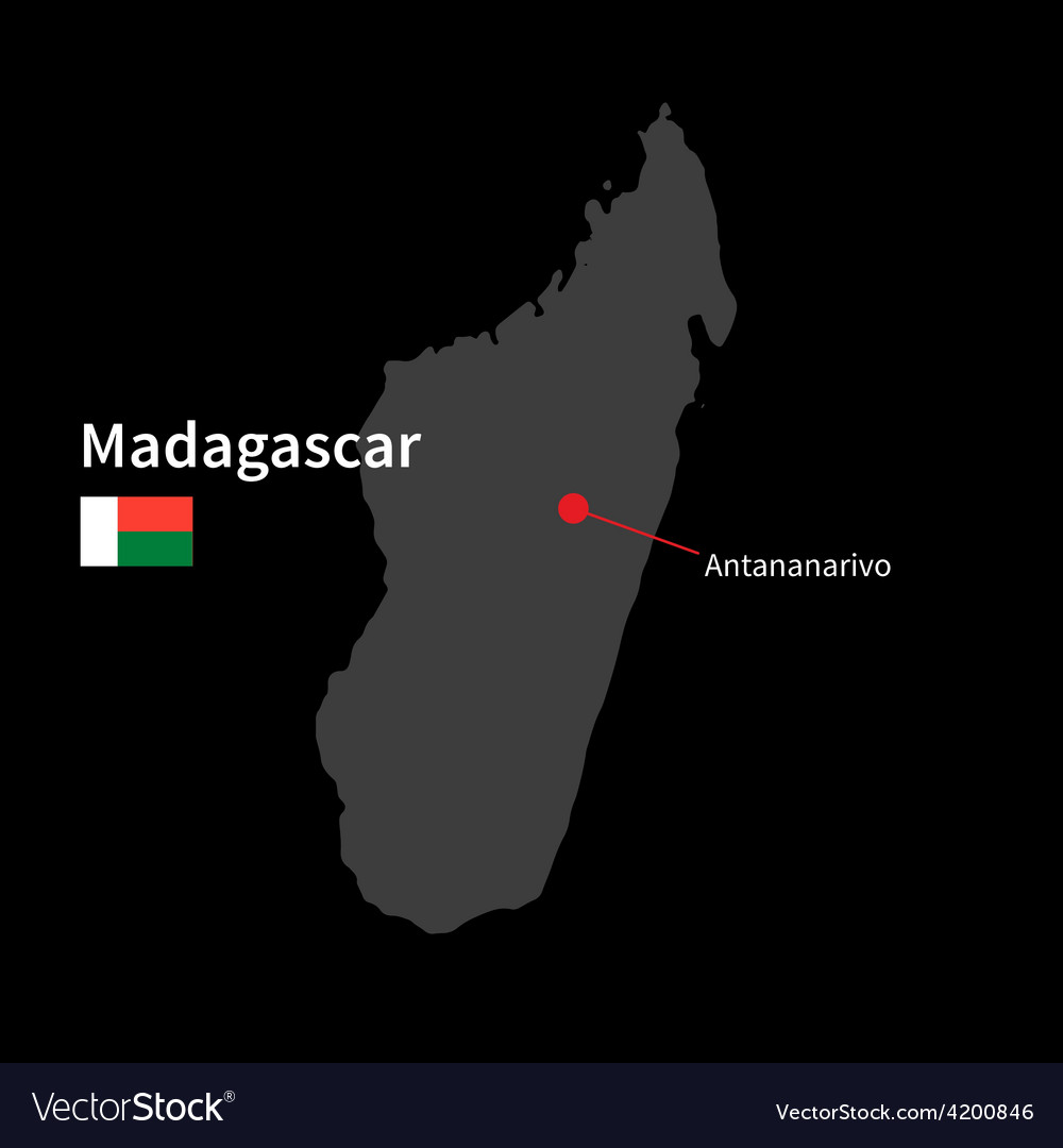 Detailed map of madagascar and capital city vector | Price: 1 Credit (USD $1)