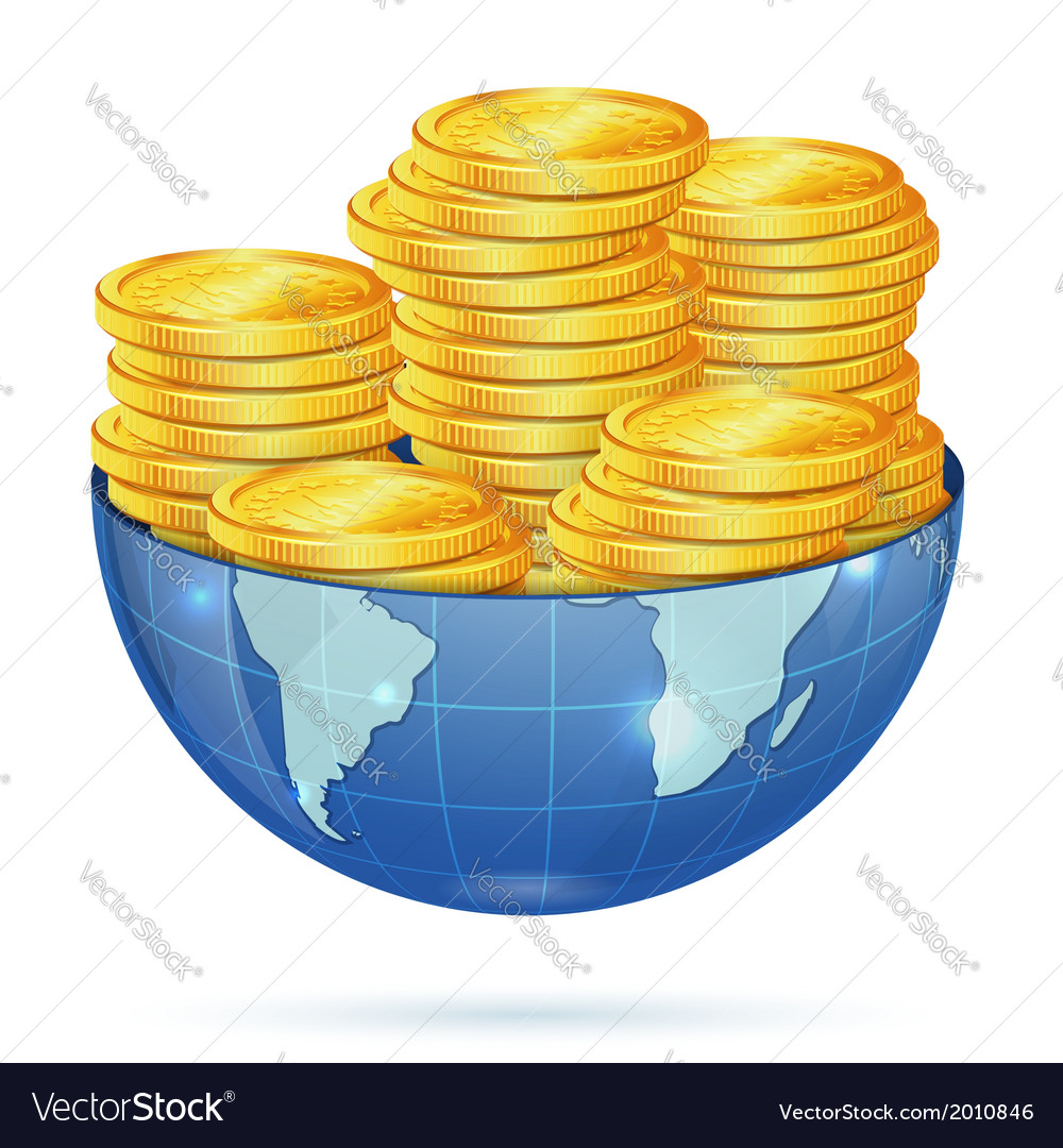 Earth with gold coins vector | Price: 1 Credit (USD $1)