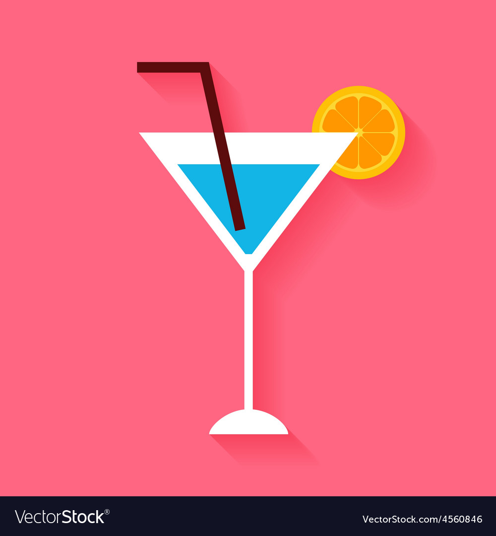 Flat cocktail with orange slice and tubule vector | Price: 1 Credit (USD $1)