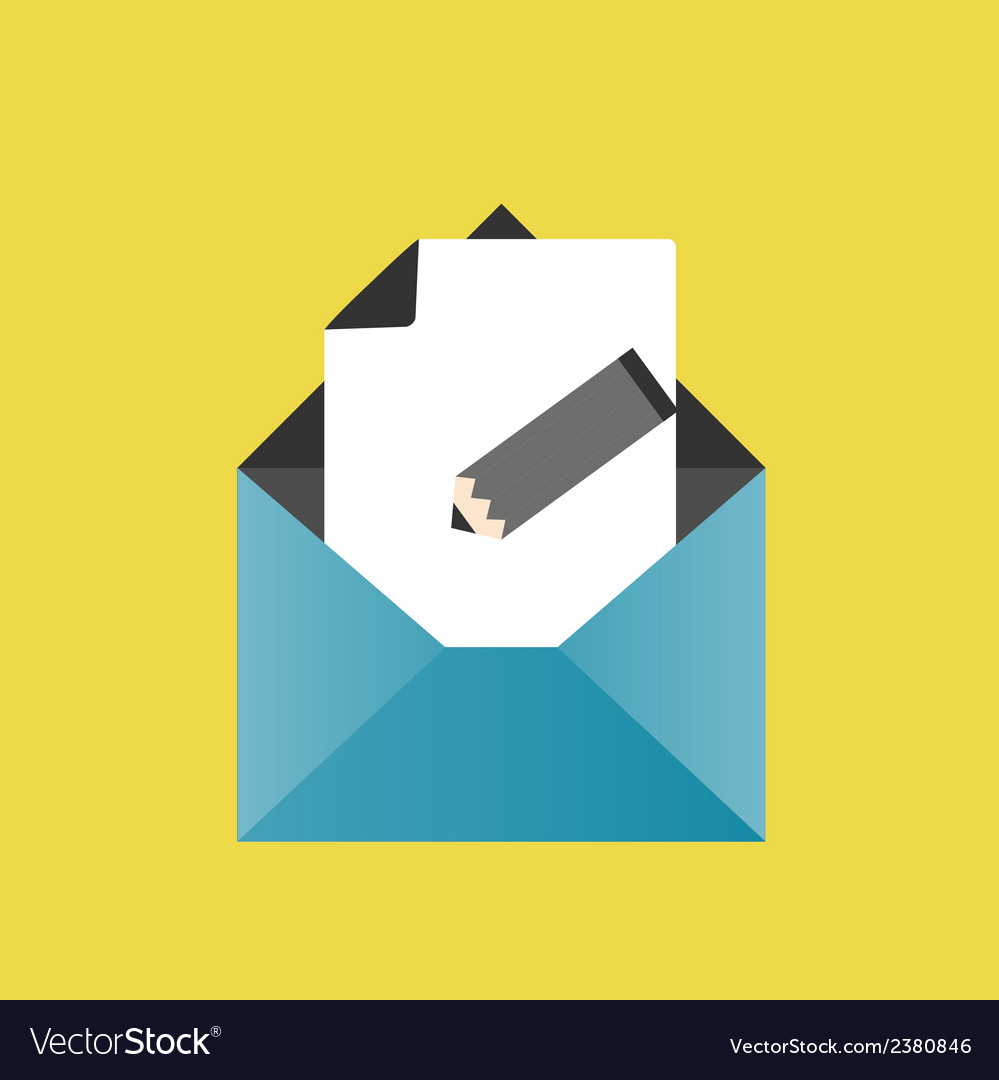 Icon pencil letter envelope paper vector | Price: 1 Credit (USD $1)