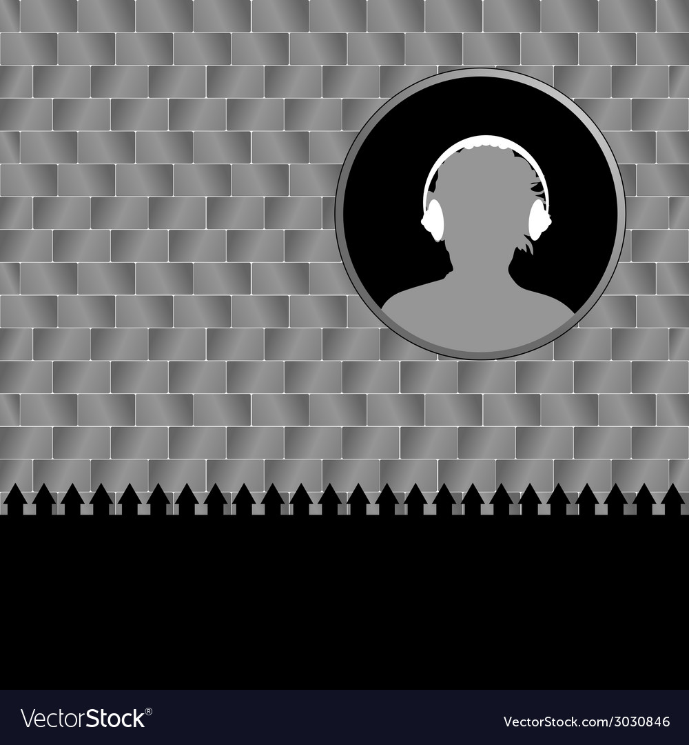 Man with headphones and brick wall vector | Price: 1 Credit (USD $1)