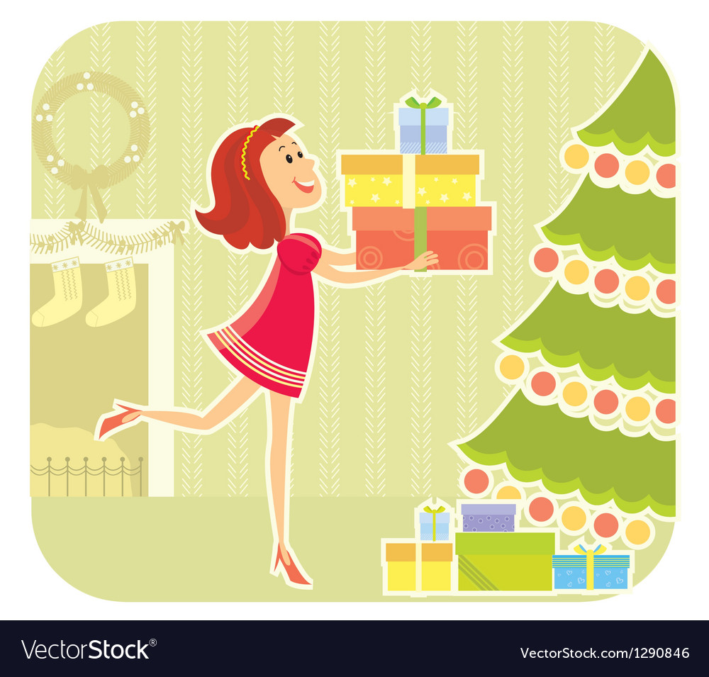 Nice girl with presents vector | Price: 3 Credit (USD $3)