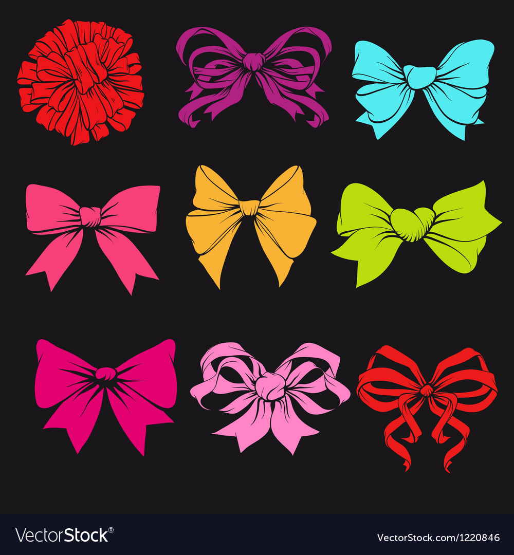 Set of bright bows vector | Price: 1 Credit (USD $1)