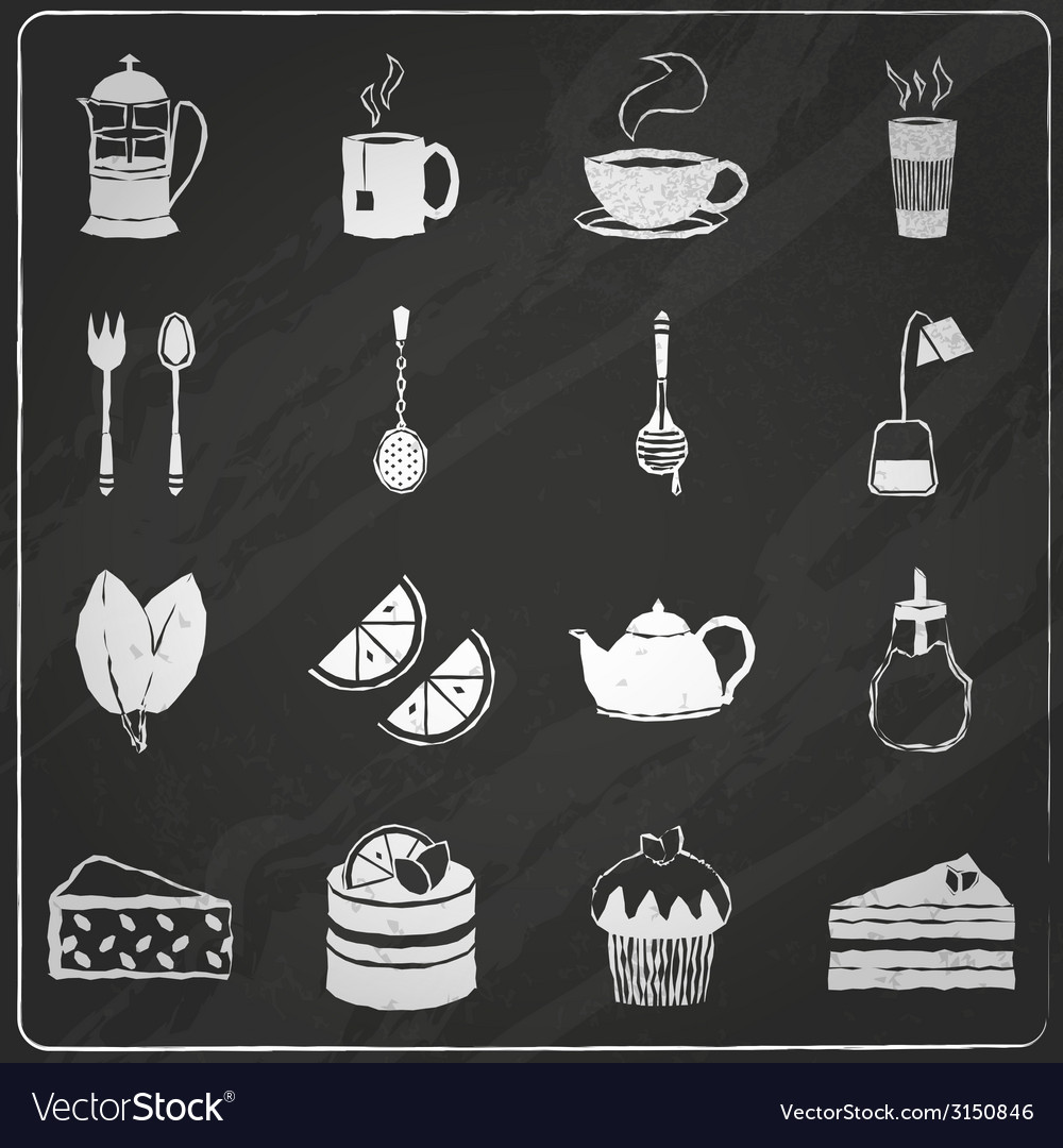 Tea icons set chalkboard vector | Price: 1 Credit (USD $1)