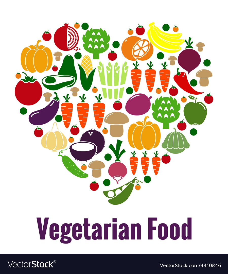 Vegetarian food heart shape vector | Price: 1 Credit (USD $1)