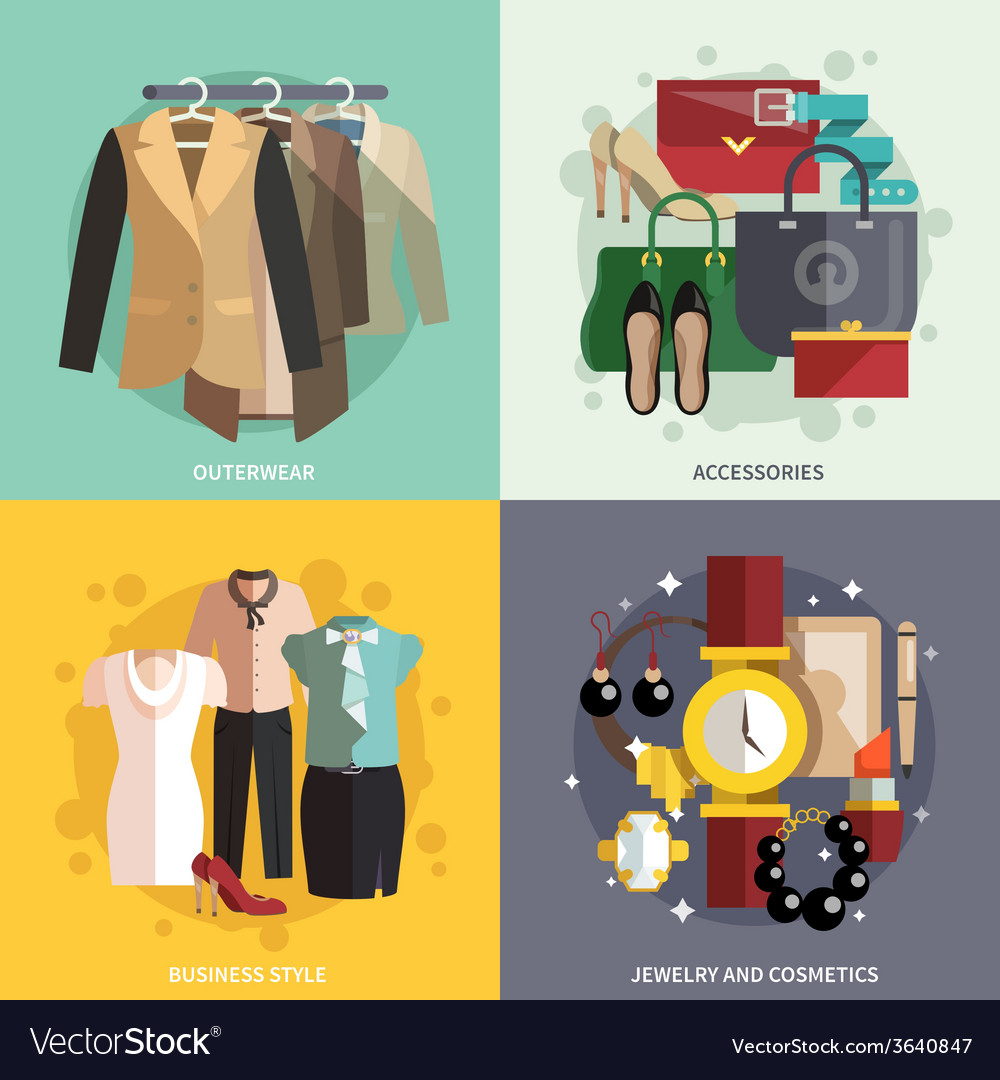 Clothes icons flat vector | Price: 1 Credit (USD $1)