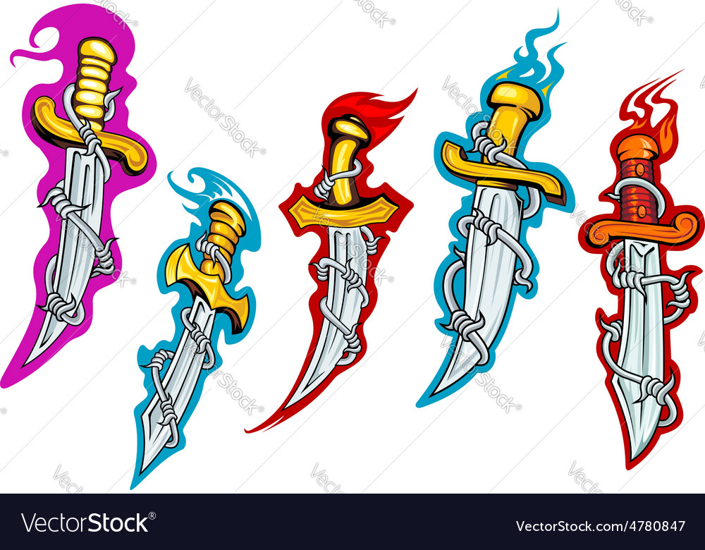 Daggers with barbed wire and fire flames vector | Price: 1 Credit (USD $1)