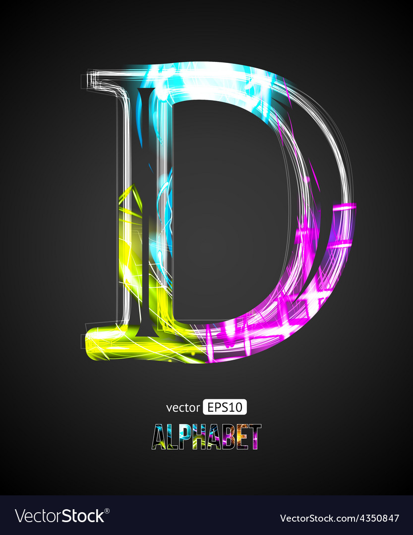 Design light effect alphabet letter d vector | Price: 1 Credit (USD $1)