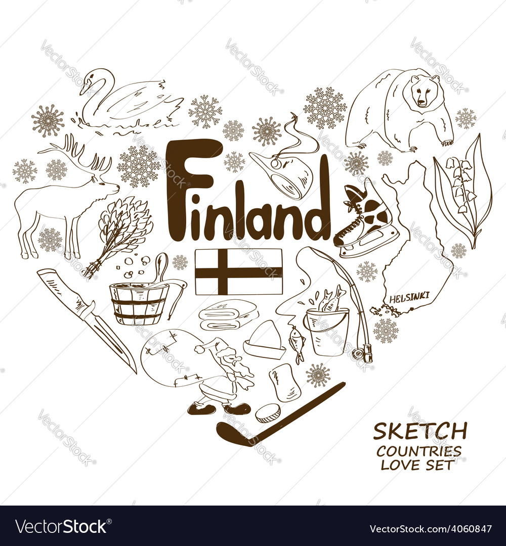 Finland symbols in heart shape concept vector | Price: 1 Credit (USD $1)