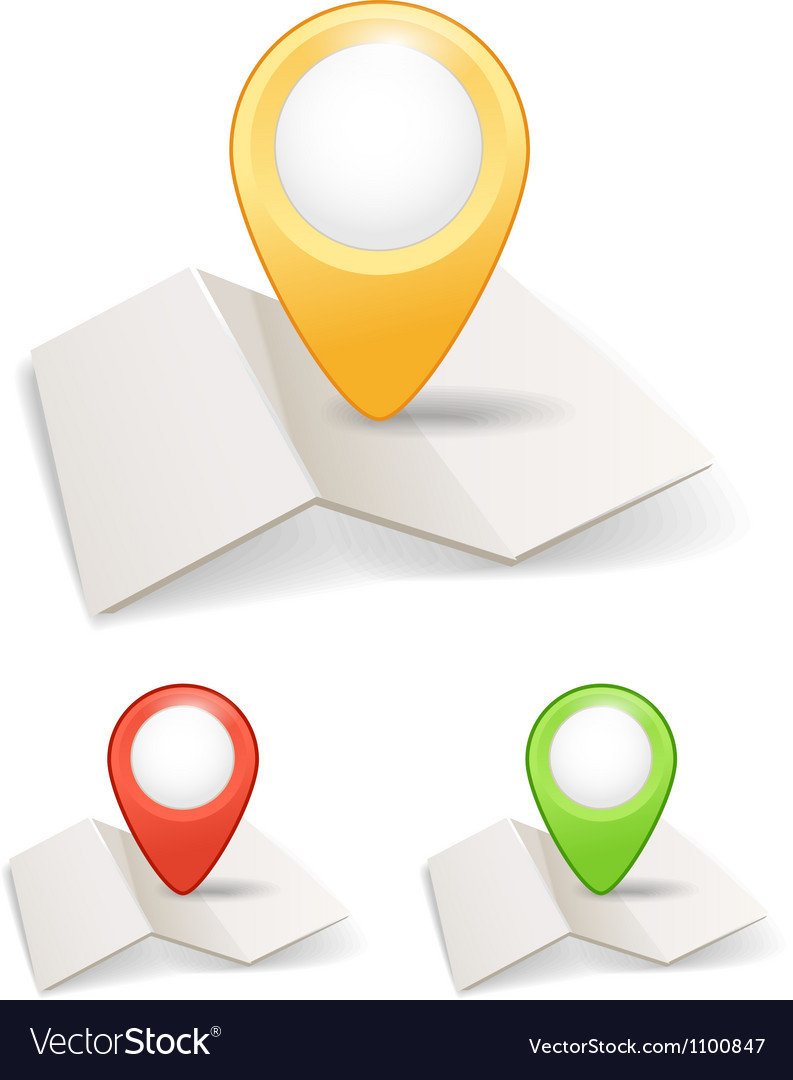 Folded maps with color point markers vector | Price: 1 Credit (USD $1)