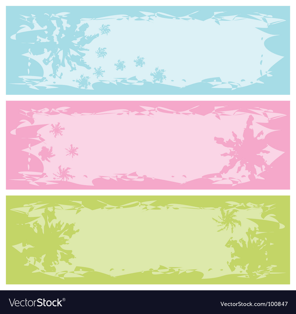 Grungy banners with snowflakes illust vector | Price: 1 Credit (USD $1)