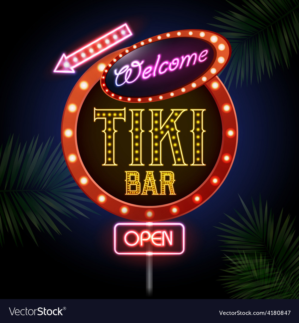 Neon sign tiki bar vector | Price: 1 Credit (USD $1)