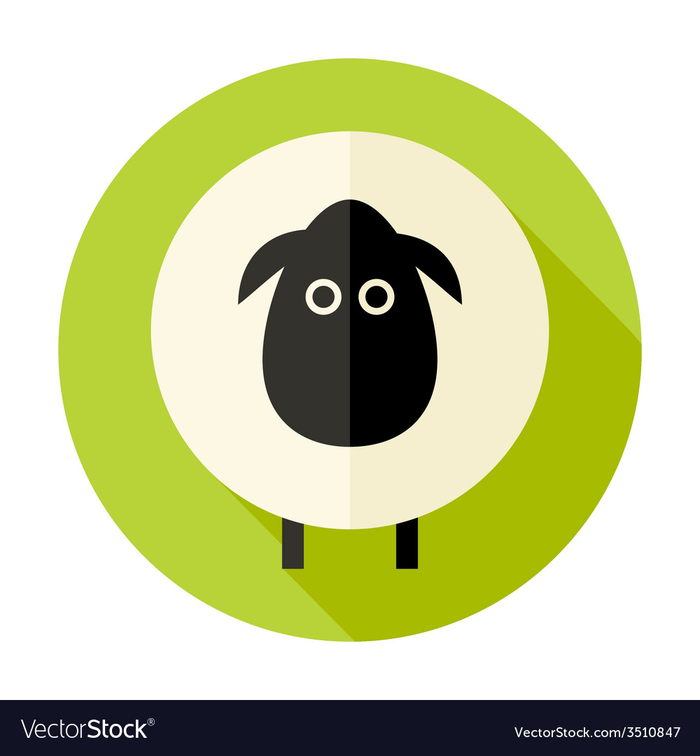 Sheep flat circle icon over green vector | Price: 1 Credit (USD $1)
