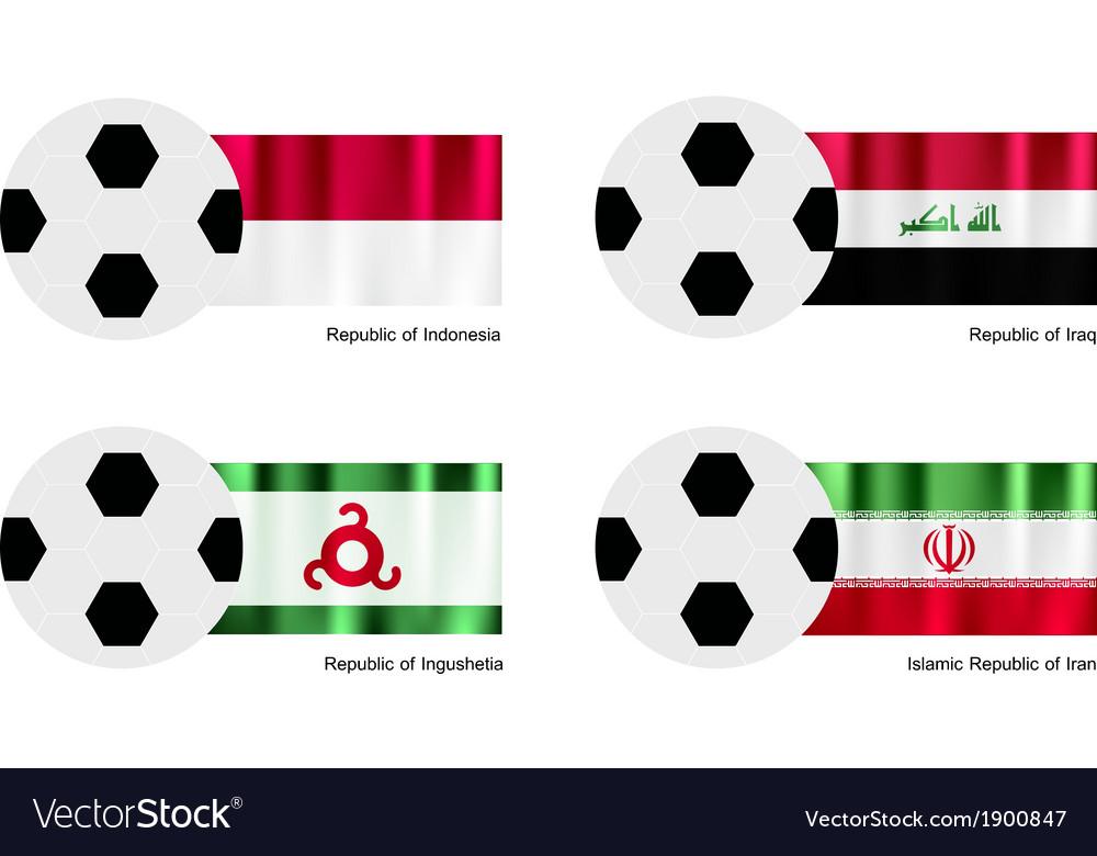 Soccer ball of indonesia iraq ingushetia vector | Price: 1 Credit (USD $1)
