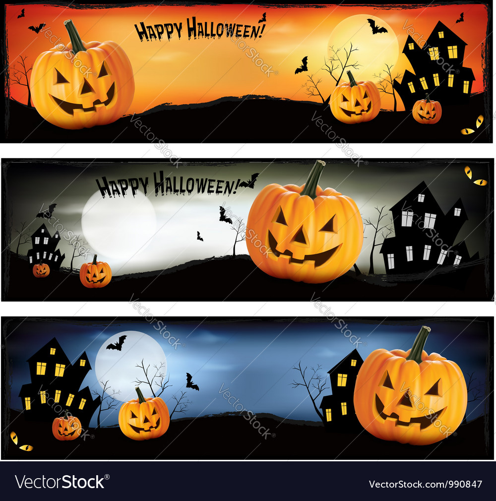 Three colorful halloween banners vector | Price: 1 Credit (USD $1)