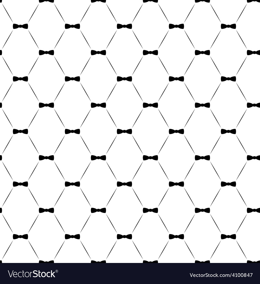 Tie bow seamless pattern monochrome vector | Price: 1 Credit (USD $1)