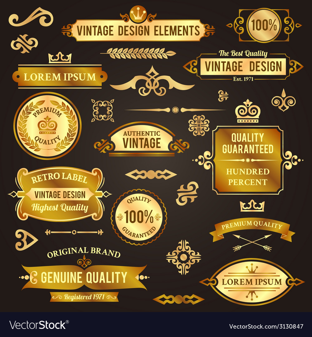 Vintage design elements golden vector | Price: 1 Credit (USD $1)