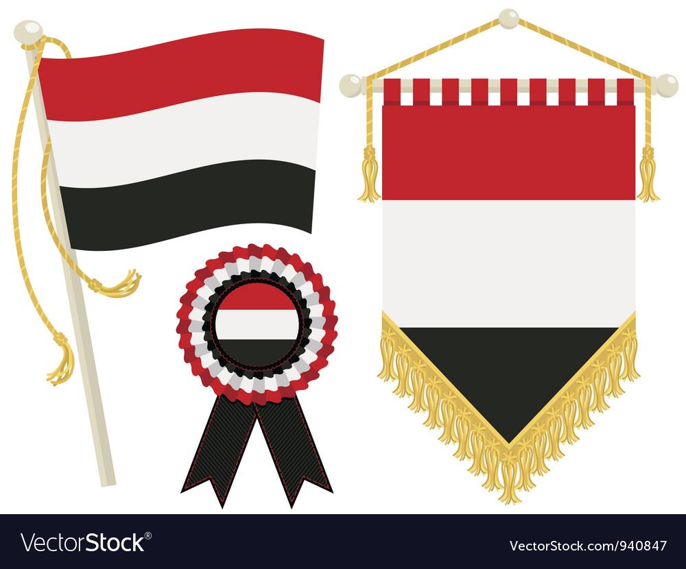 Yemen flags vector | Price: 1 Credit (USD $1)