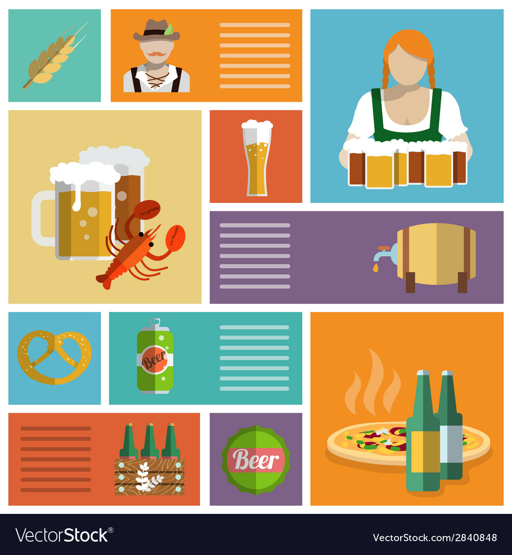 Beer icons set flat vector | Price: 1 Credit (USD $1)