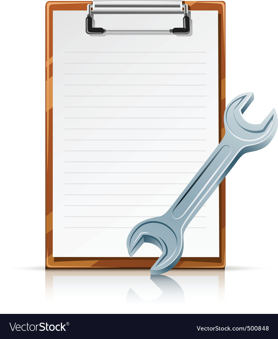 Clipboard with spanner vector | Price: 1 Credit (USD $1)