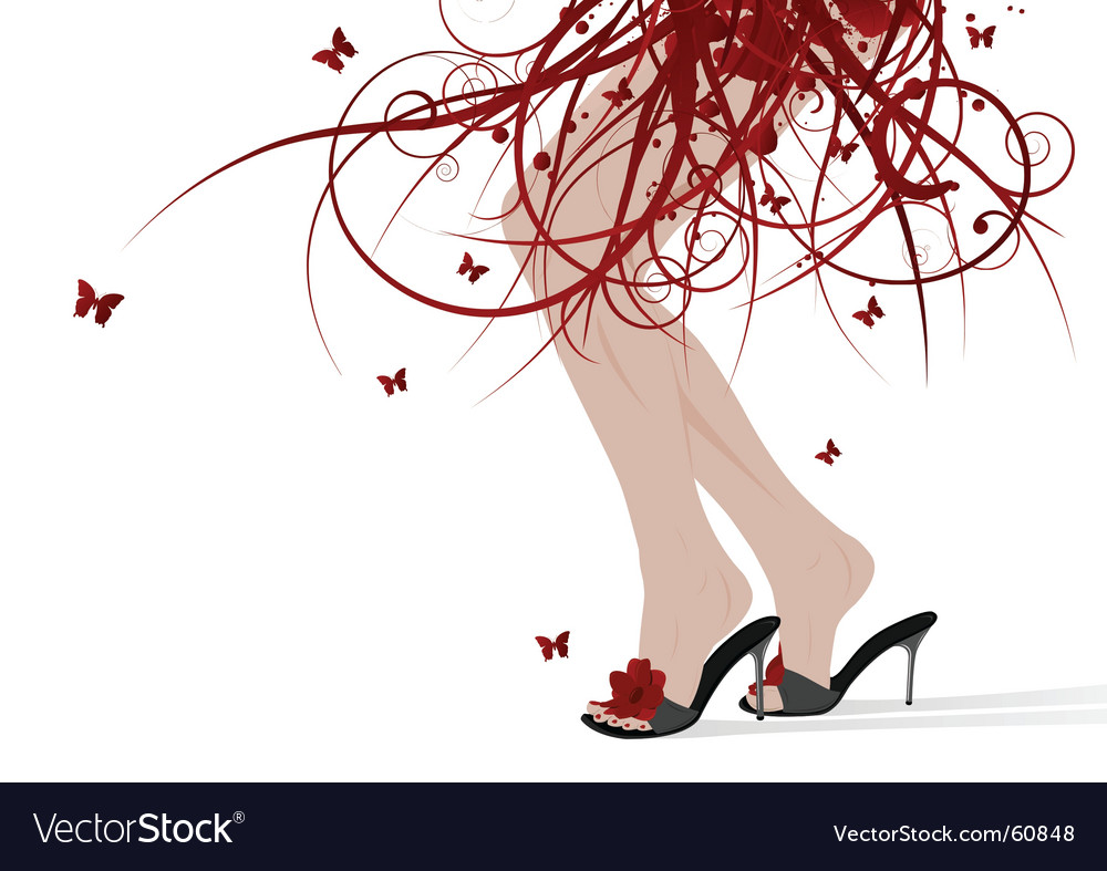 Female feet floral skirt vector | Price: 1 Credit (USD $1)