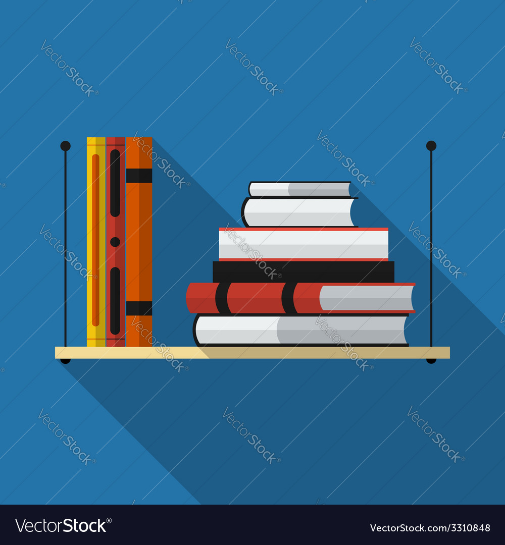 Flat bookshelf with long shadow icon vector | Price: 1 Credit (USD $1)