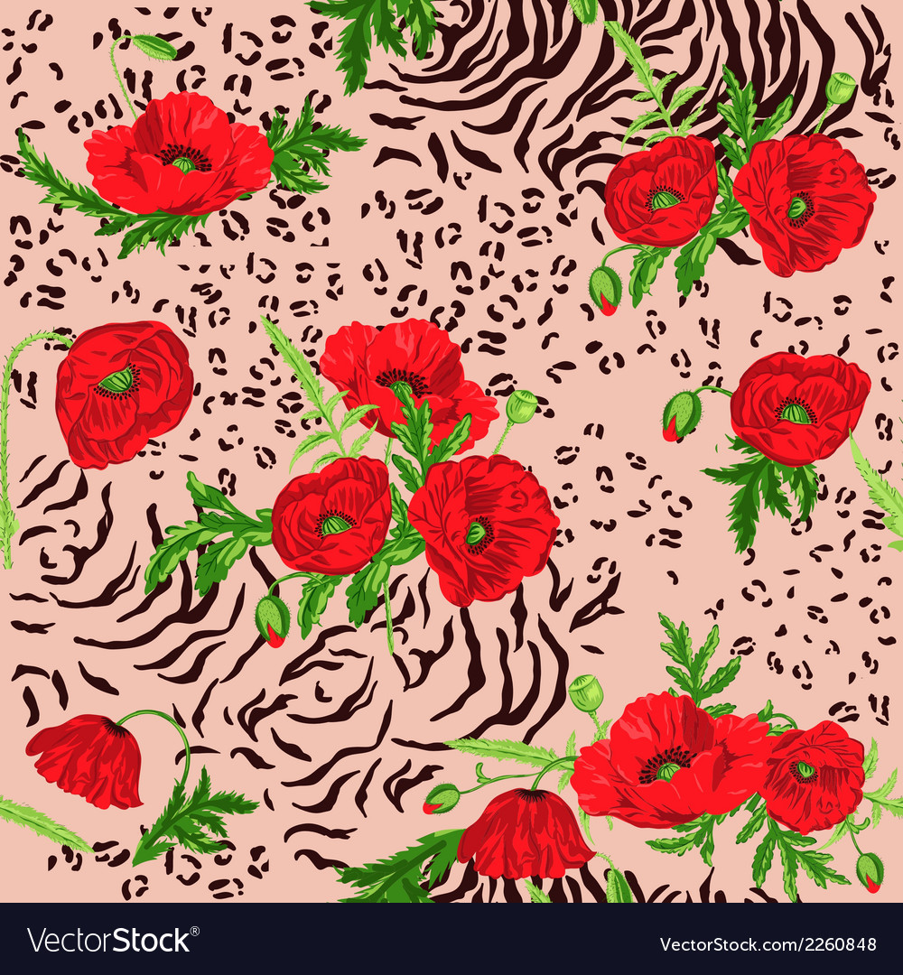 Floral seamless pattern - poppy and animal skin vector | Price: 1 Credit (USD $1)