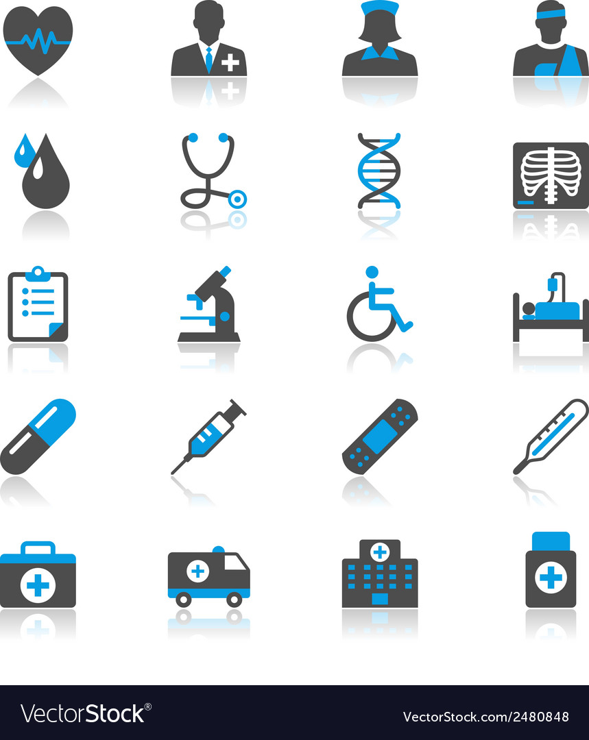 Healthcare flat with reflection icons vector | Price: 1 Credit (USD $1)