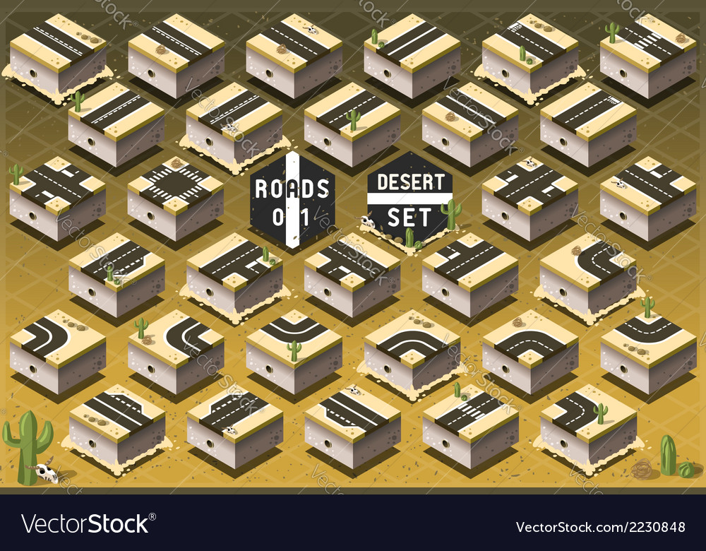 Isometric roads on desert terrain vector | Price: 1 Credit (USD $1)