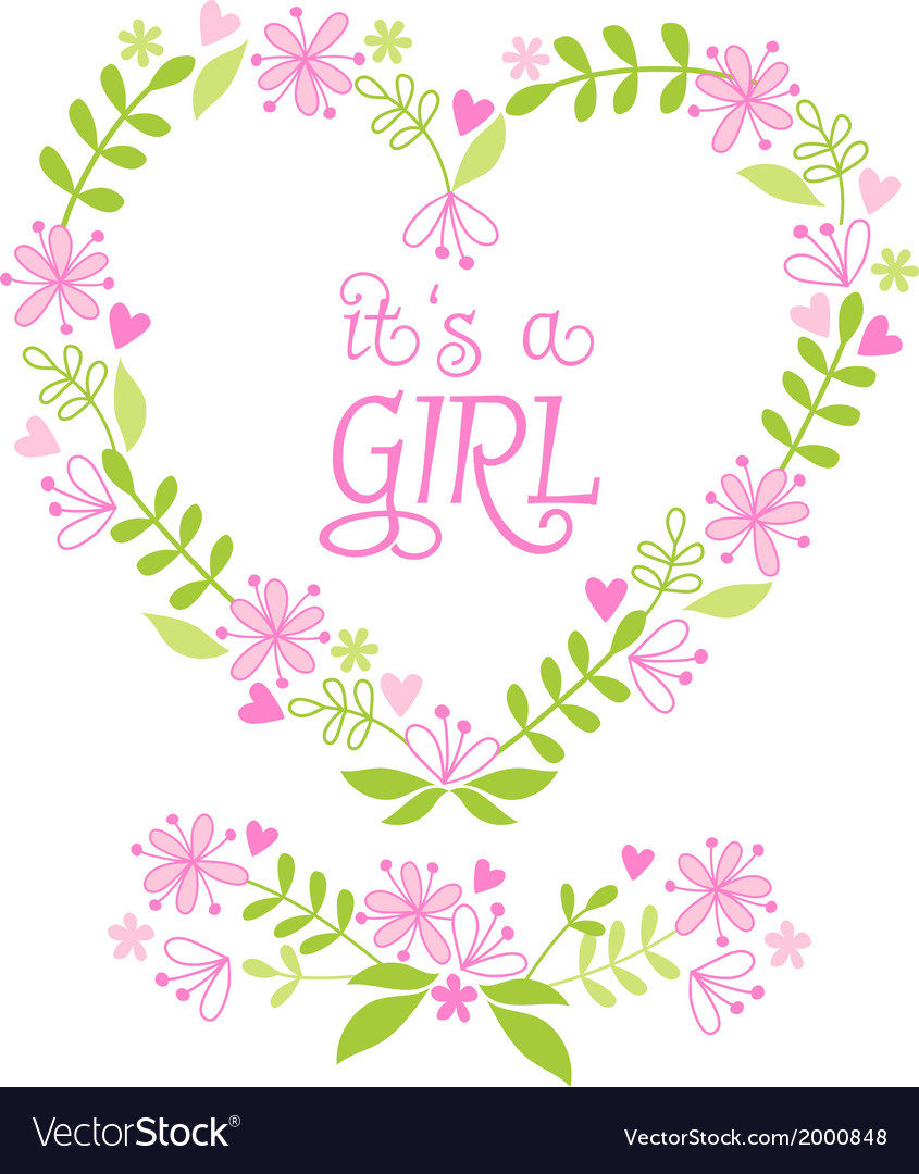 Its a baby girl floral heart vector | Price: 1 Credit (USD $1)