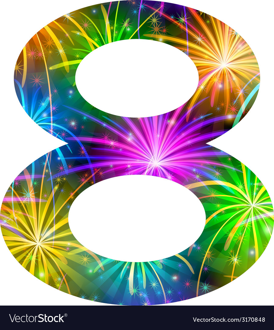 Number of colorful firework eight vector | Price: 1 Credit (USD $1)