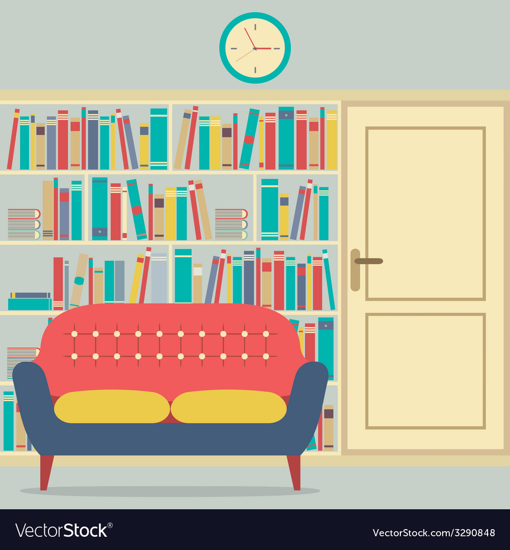 Reading seats in front of a huge bookcase vector | Price: 1 Credit (USD $1)