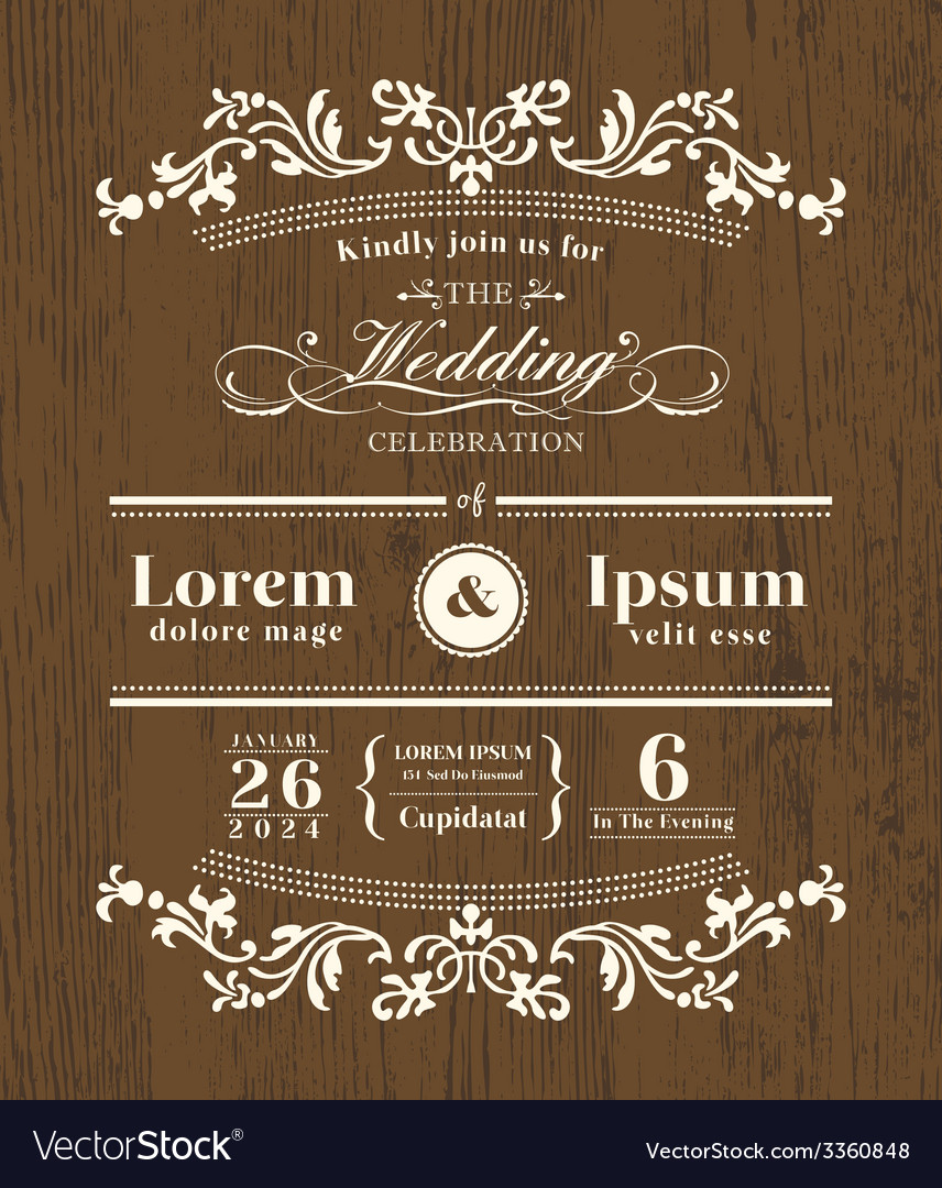 Vintage typography wedding invitation template vector | Price: 1 Credit (USD $1)