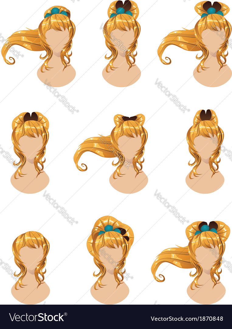 Yellow hair in different styles vector | Price: 1 Credit (USD $1)