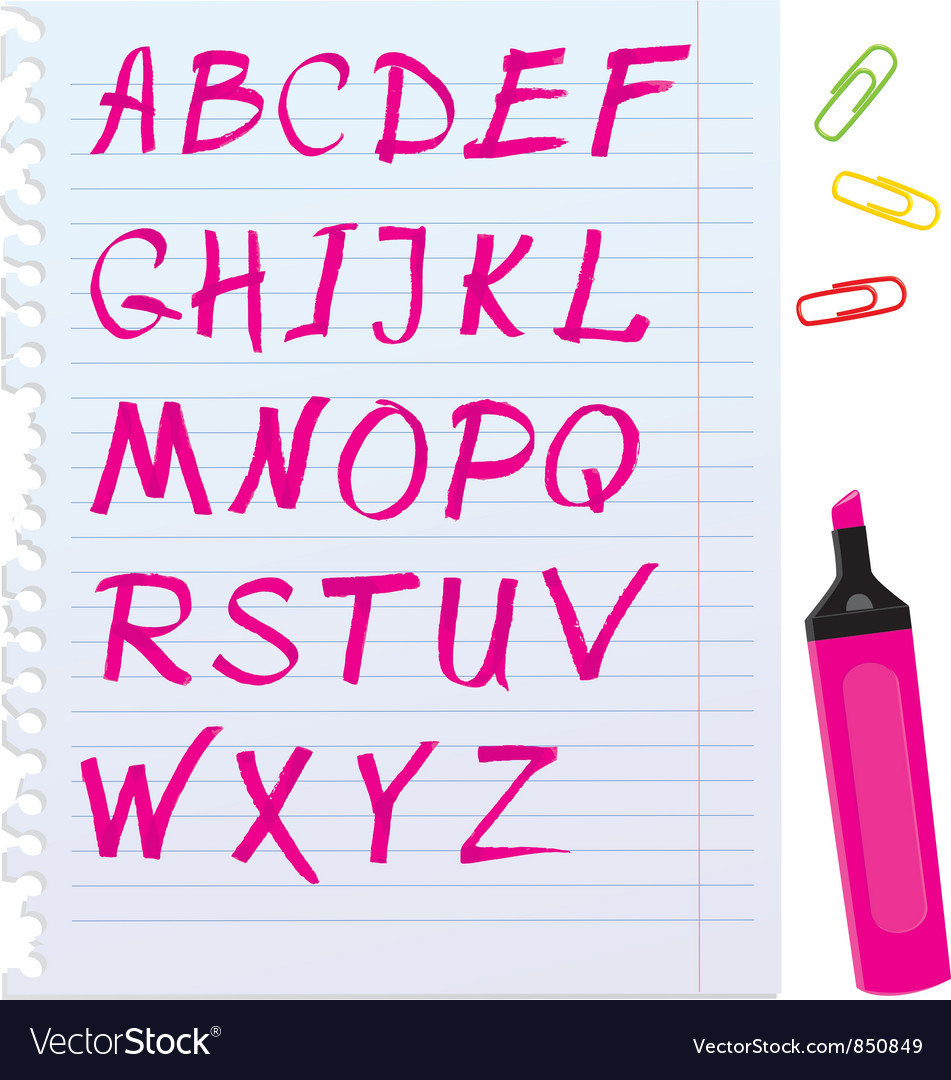 Alphabet set - letters are made of magenta color vector | Price: 1 Credit (USD $1)