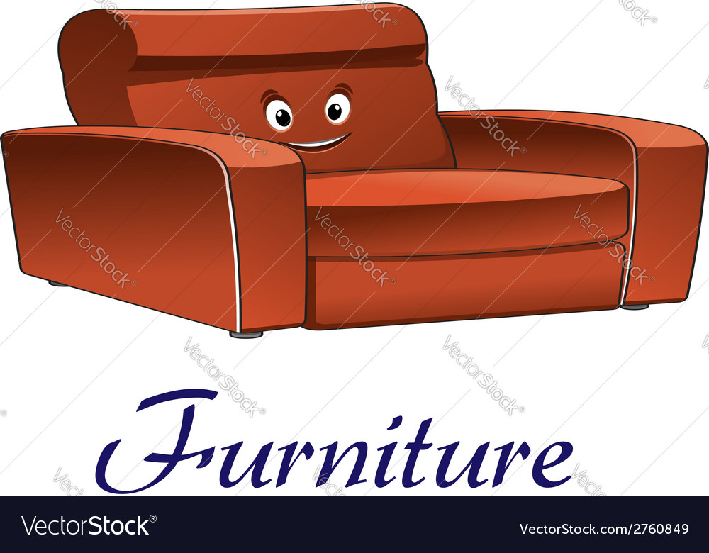 Cartoon couch furniture character vector | Price: 1 Credit (USD $1)