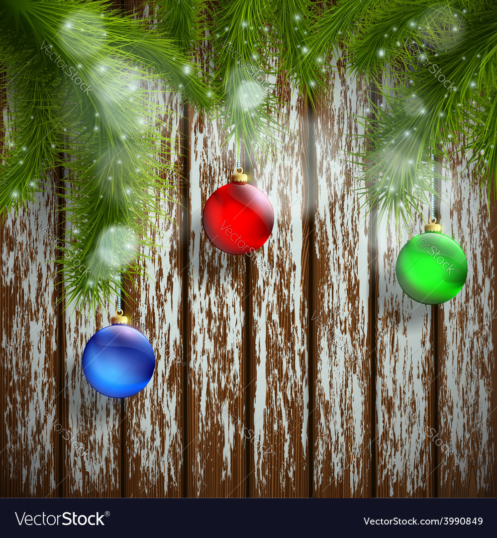 Christmas tree with decoration on a wooden surface vector | Price: 1 Credit (USD $1)