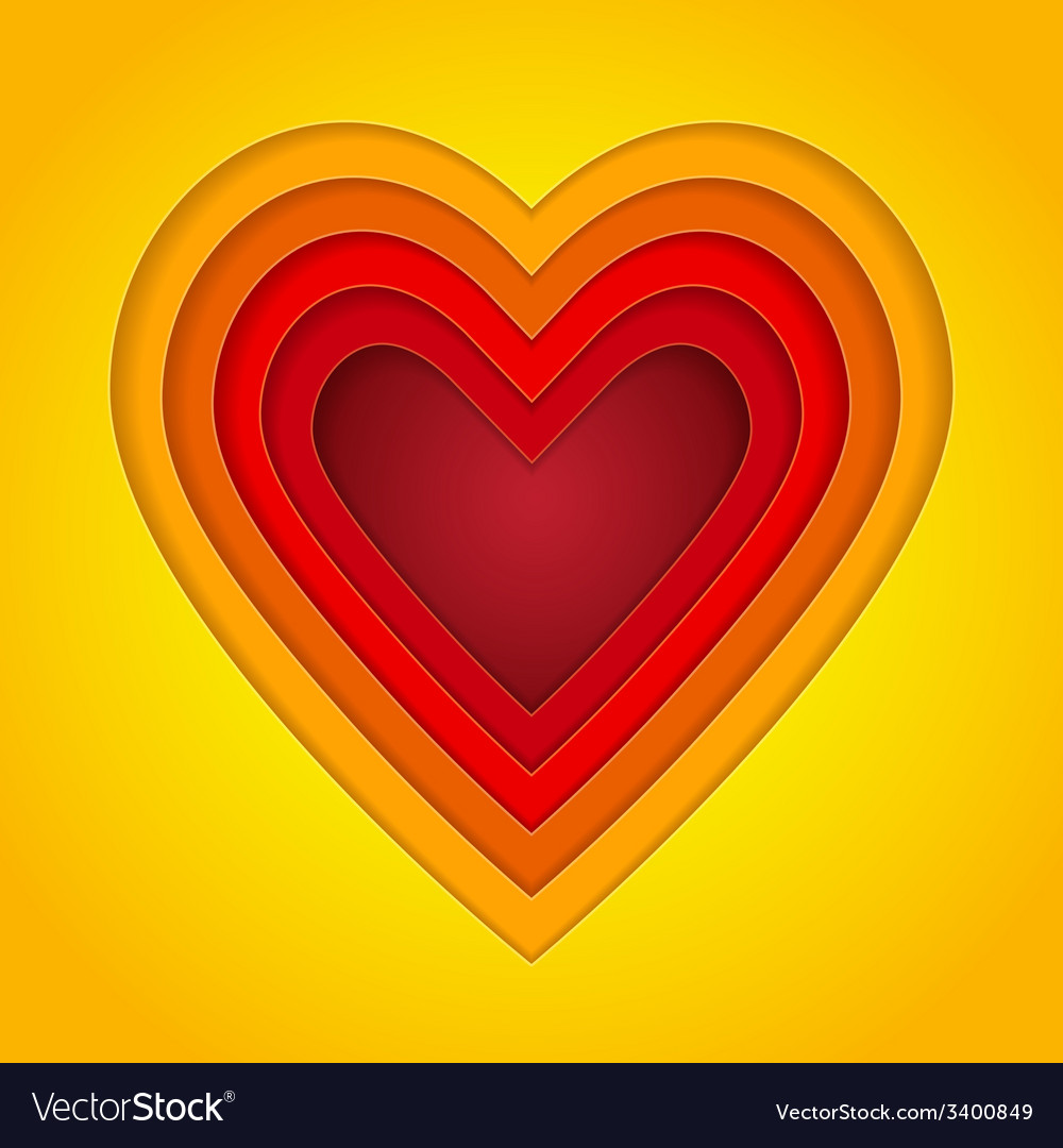 Colorful red orange and yellow paper layers heart vector | Price: 1 Credit (USD $1)