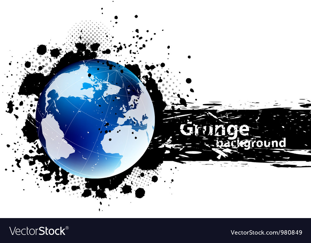 Grunge banner with earth vector | Price: 1 Credit (USD $1)