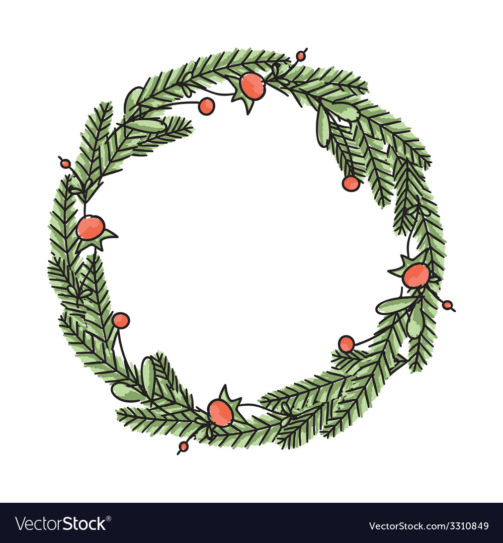 Hand drawn floral christmas wreath vector | Price: 1 Credit (USD $1)