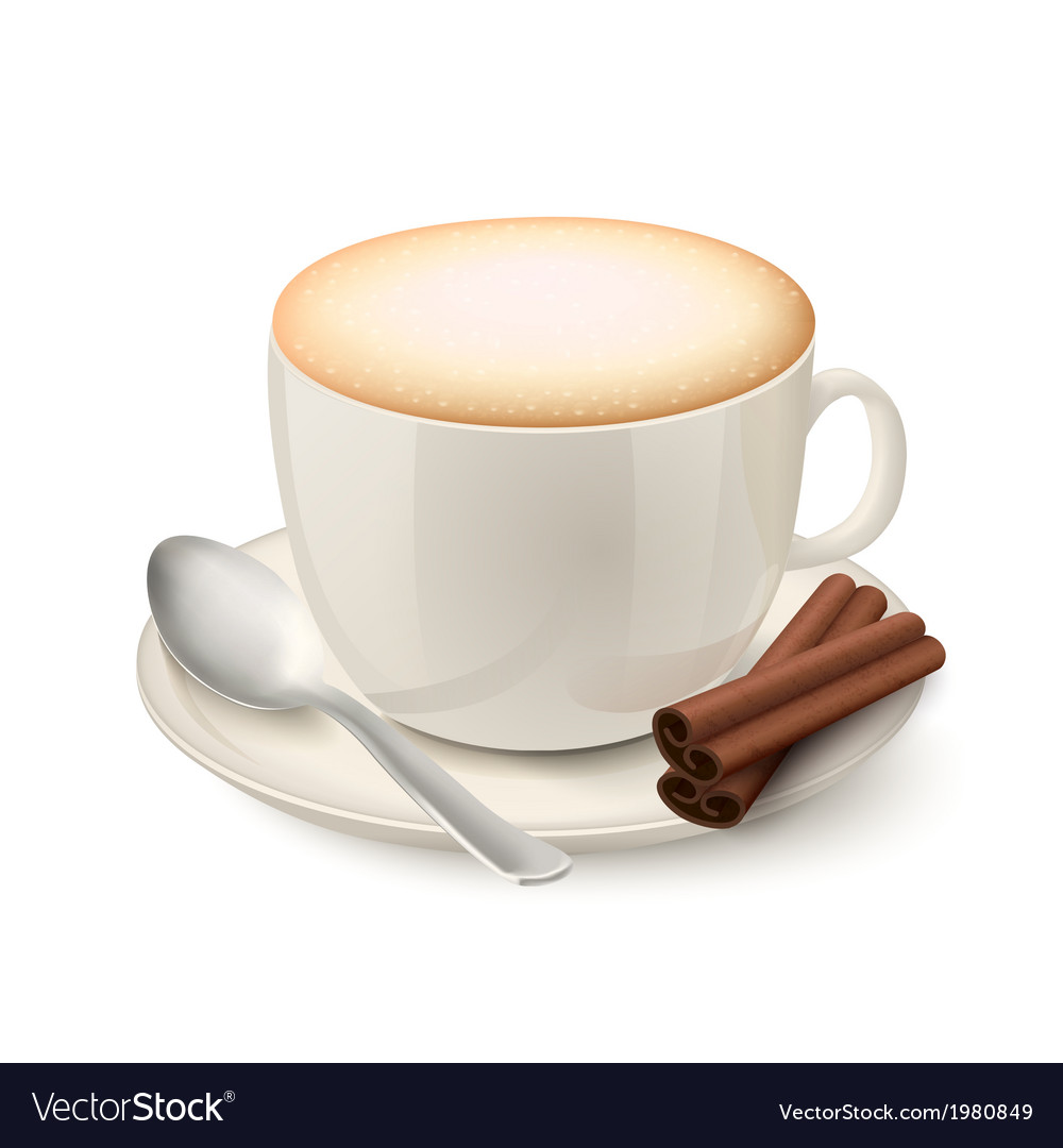 Realistic white cup filled with cappuccino vector | Price: 1 Credit (USD $1)