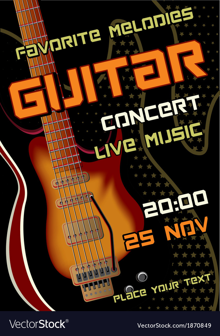 Rock concert design template with guitar vector | Price: 1 Credit (USD $1)