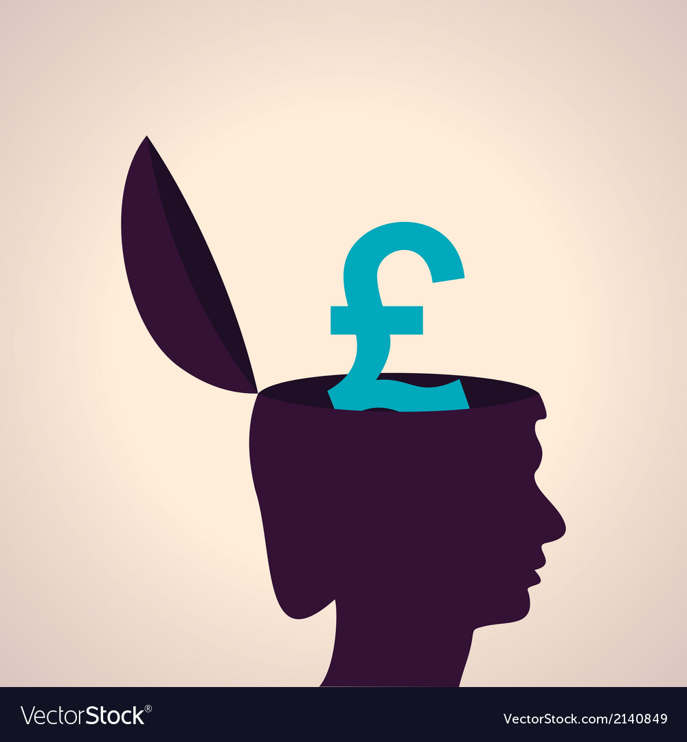 Thinking concept-human head with pound symbol vector | Price: 1 Credit (USD $1)
