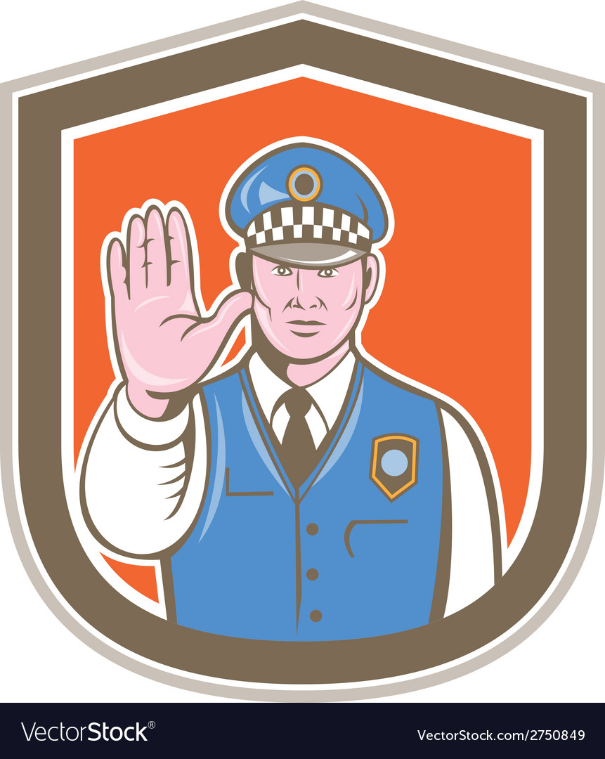 Traffic policeman hand stop sign shield cartoon vector | Price: 1 Credit (USD $1)