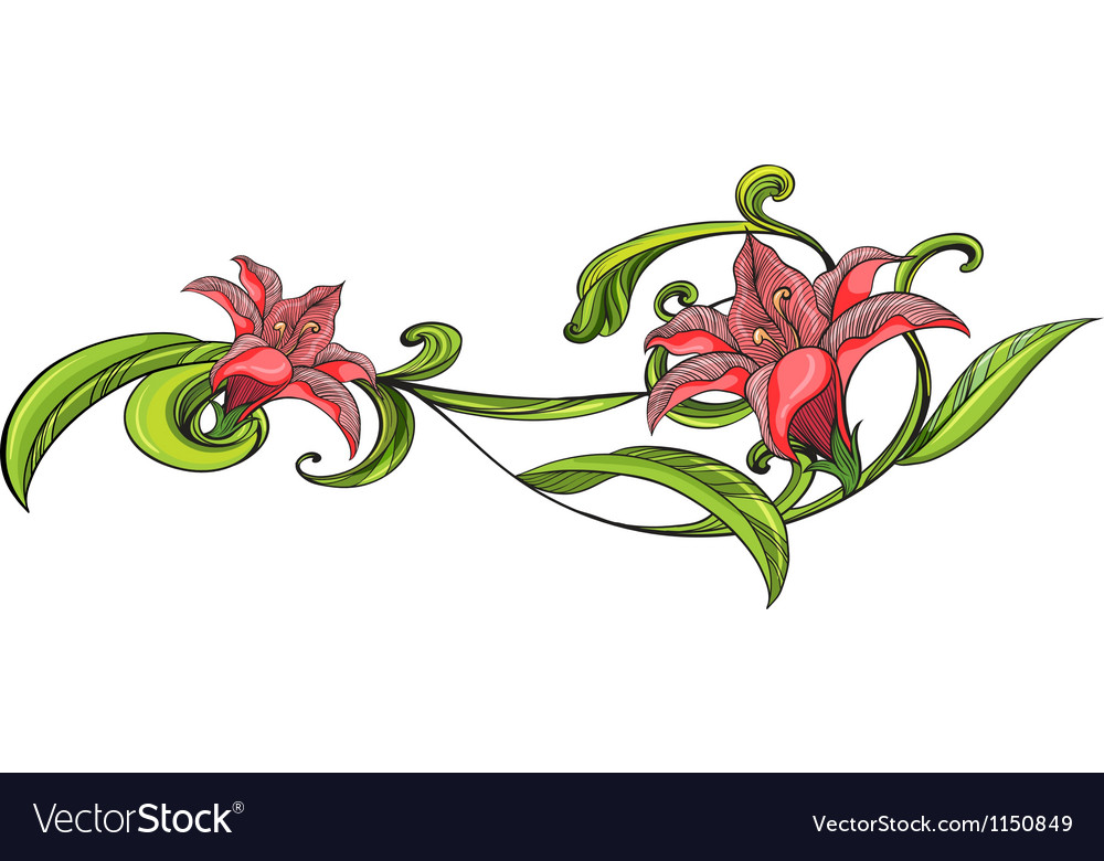 Vine flower border vector | Price: 1 Credit (USD $1)